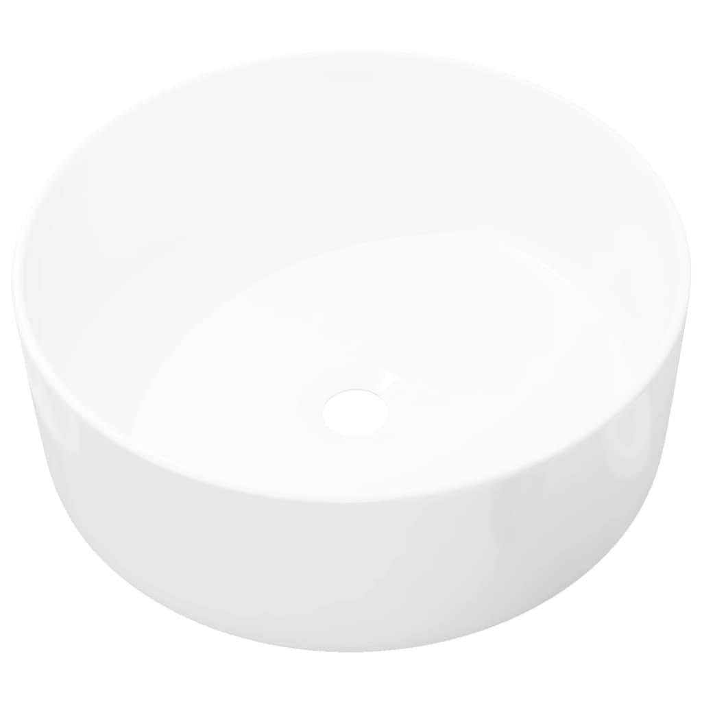 vidaXL Νιπτήρας Στρογγυλός Λευκός 40 x 15 εκ. Κεραμικός
