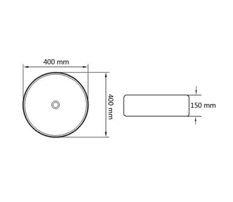 vidaXL håndvask rund keramik 40x15 cm hvid[6/6]