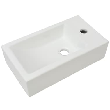 "vidaXL Basin with Faucet Hole Rectangular Ceramic White 18.1""x10""x4.7""[2/6]"