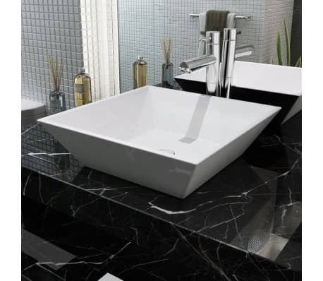 "vidaXL Basin Square Ceramic White 16.3""x16.3""x4.7""[1/5]"