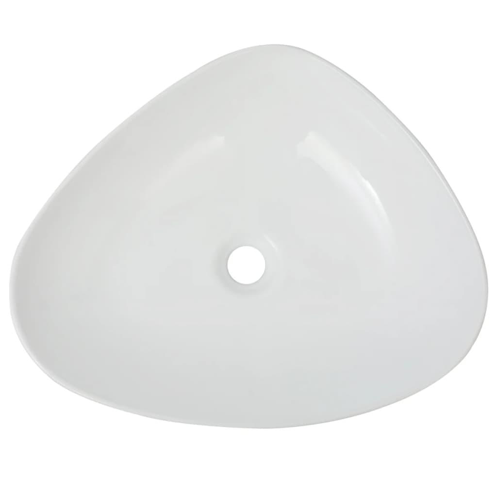 vidaXL Wastafel driehoekig wit 50,5x41x12 cm keramiek