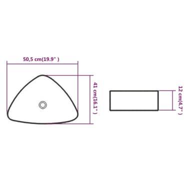 "vidaXL Basin Triangle Ceramic White 19.9""x16.1""x4.7""[5/5]"