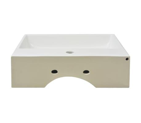"vidaXL Basin with Faucet Hole Ceramic White 20.3""x15.2""x5.9""[4/6]"
