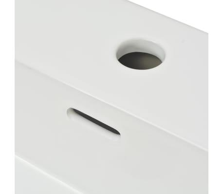 "vidaXL Basin with Faucet Hole Ceramic White 20.3""x15.2""x5.9""[5/6]"