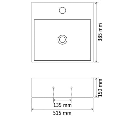 "vidaXL Basin with Faucet Hole Ceramic White 20.3""x15.2""x5.9""[6/6]"