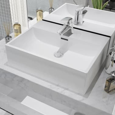 "vidaXL Basin with Faucet Hole Ceramic White 20.3""x15.2""x5.9""[1/6]"