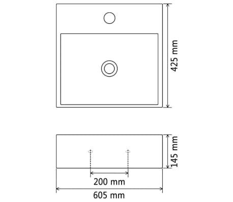 "vidaXL Basin with Faucet Hole Ceramic White 23.8""x16.7""x5.7""[6/6]"
