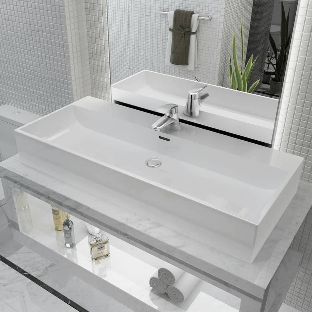 vidaXL Chiuvetă cu orificiu robinet, ceramică, 100x42,5x14,5 cm, alb poza vidaxl.ro