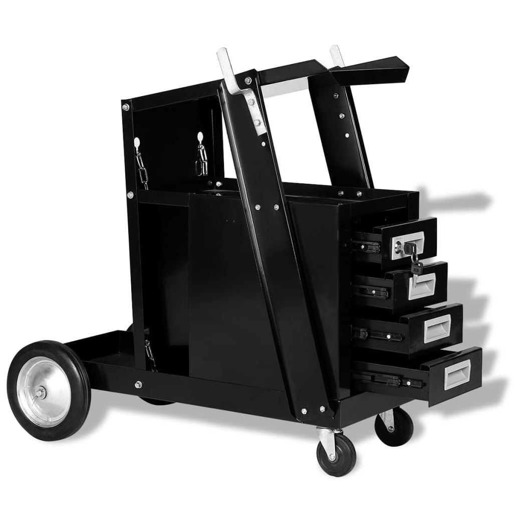 vidaXL Svářečský vozík se 4 zásuvkami, černá