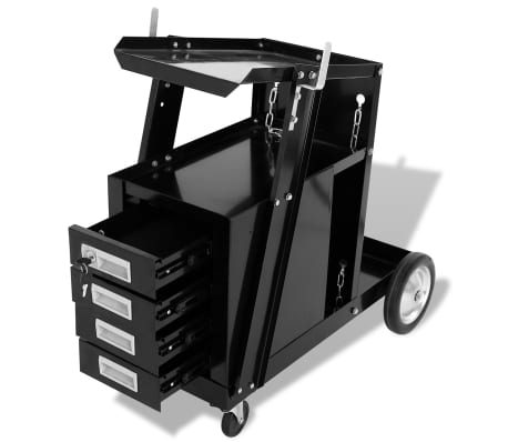 vidaXL Chariot de soudage avec 4 tiroirs Noir[3/4]