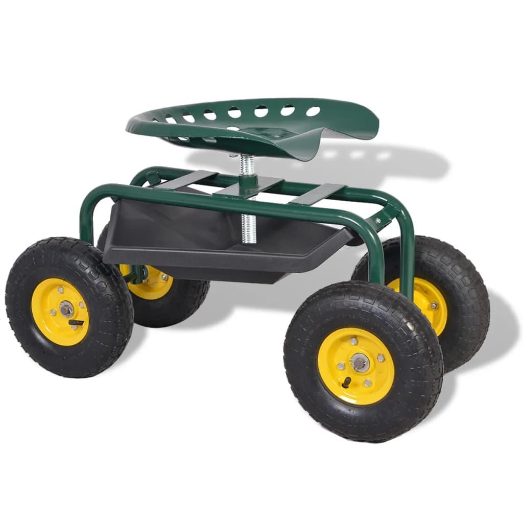 vidaXL Scaun rotativ pentru grădină, cu roți pneumatice, verde vidaxl.ro