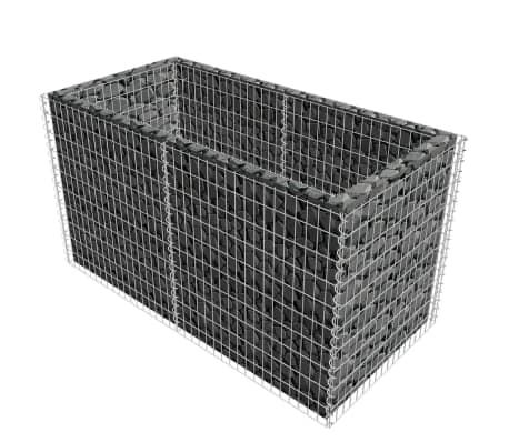 vidaXL Gabionen-Pflanzenkorb Stahl 180×90×100 cm Silbern[3/7]