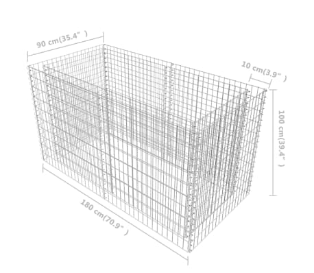 vidaXL Gabiono vazonas, plienas, 180x90x100 cm, sidabro sp.[7/7]