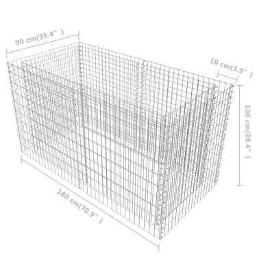 vidaXL Gabionen-Pflanzenkorb Stahl 180×90×100 cm Silbern[7/7]
