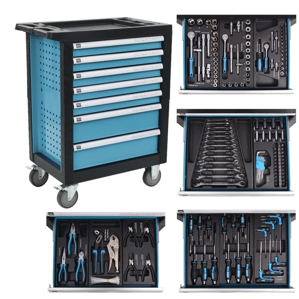 vidaXL Dílenský vozík na nářadí s 270 nástroji ocelový modrý
