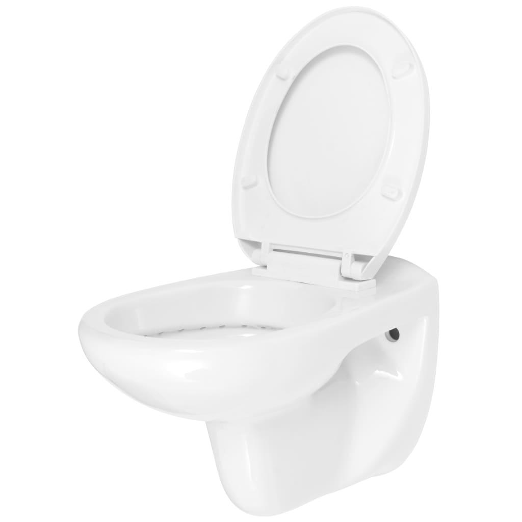 Afbeelding van vidaXL Hangend toilet met soft-close toiletbril keramiek wit