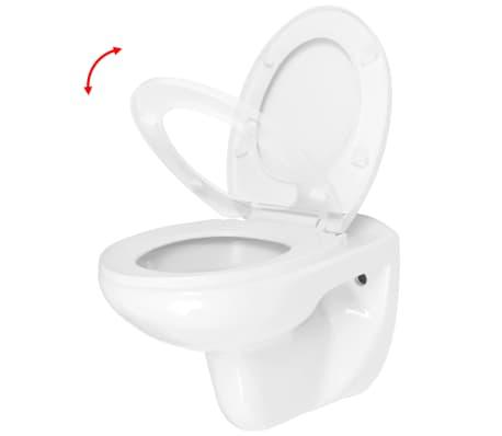 vidaXL Vägghängd toalett med mjuk stängning keramik vit WC[3/9]