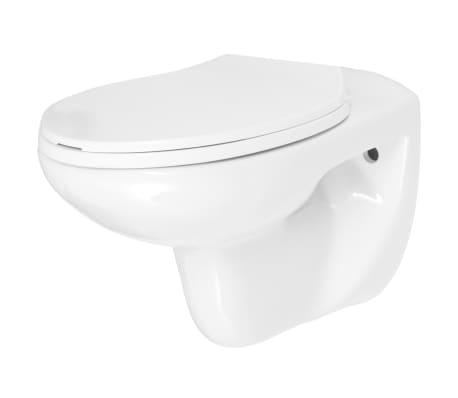 vidaXL Vägghängd toalett med mjuk stängning keramik vit WC[6/9]