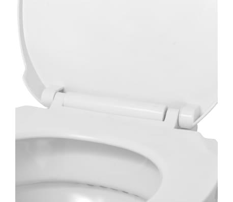 vidaXL Vägghängd toalett med mjuk stängning keramik vit WC[8/9]