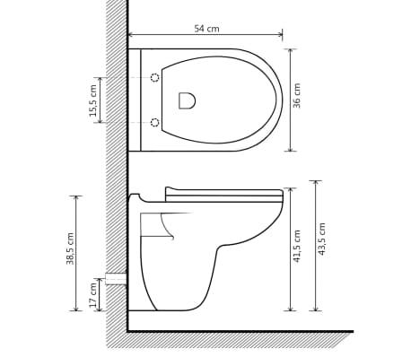 vidaXL Vägghängd toalett med mjuk stängning keramik vit WC[9/9]