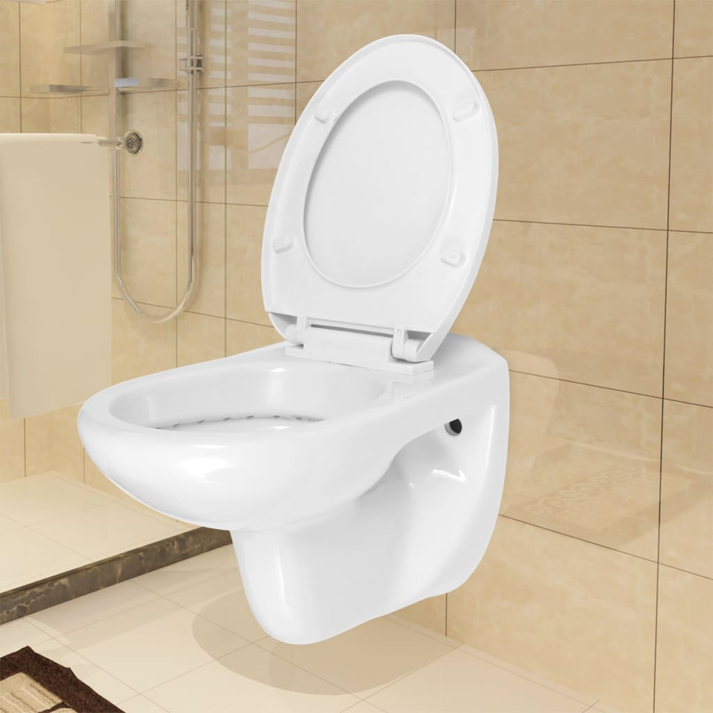 vidaXL Toaletă suspendată, cu colac silențios, ceramică, Alb WC imagine vidaxl.ro
