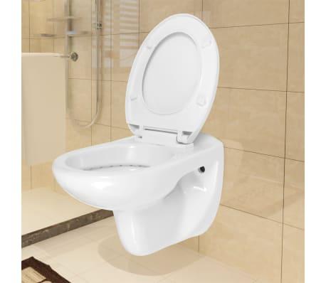 vidaXL Vägghängd toalett med mjuk stängning keramik vit WC[1/9]