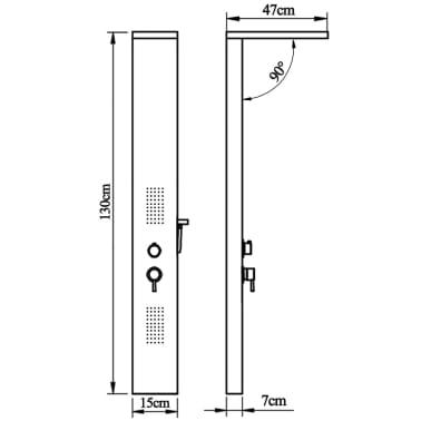 vidaXL Στήλη Ντους Υδρομασάζ Τετράγωνη από Ανοξείδωτο Ατσάλι[9/9]