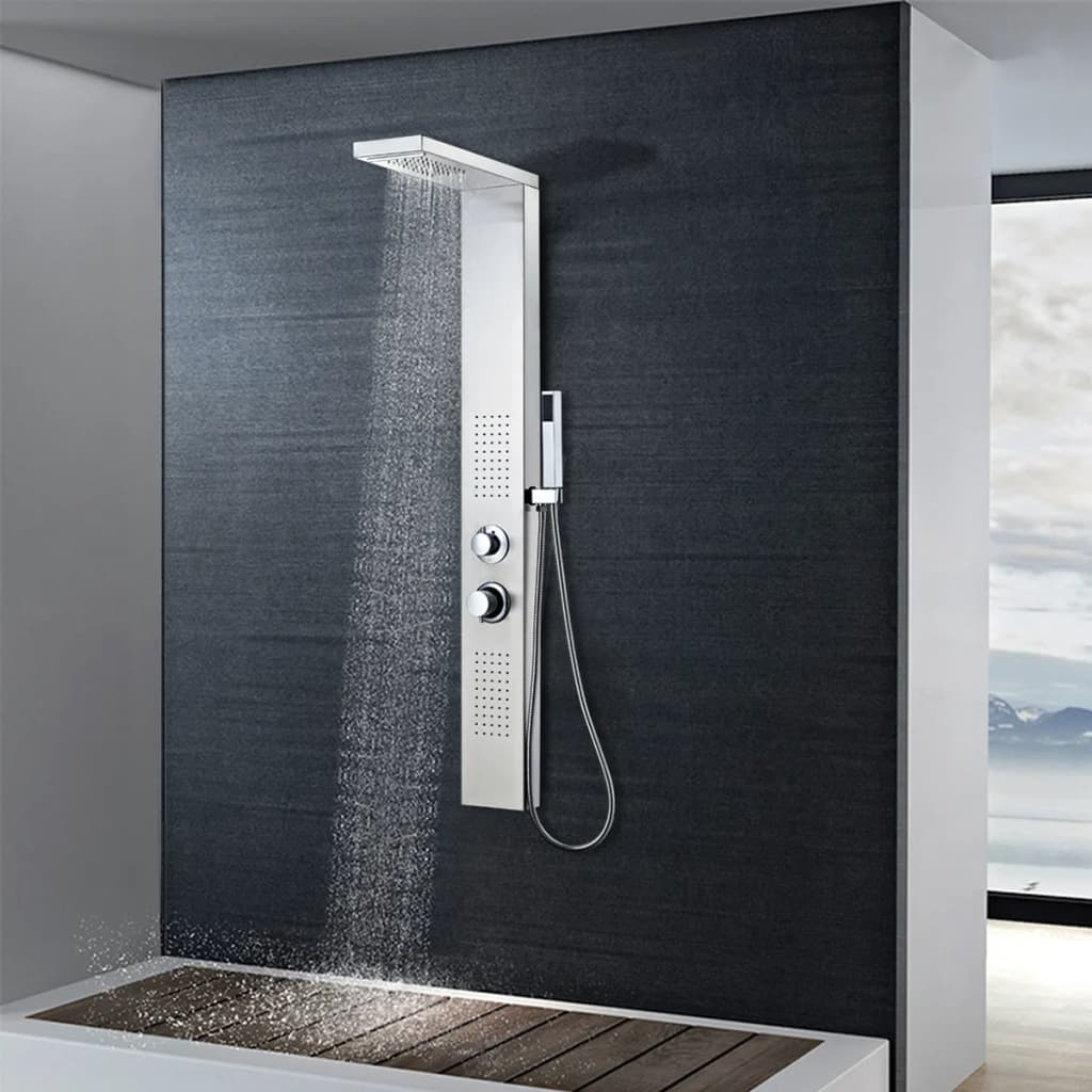 vidaXL Sistem panel de duș, pătrat, oțel inoxidabil poza vidaxl.ro