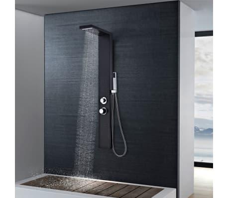 vidaXL Hliníkový sprchový panel, matný čierny[2/9]