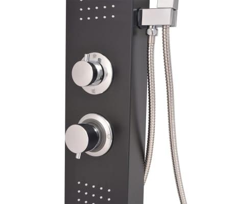 vidaXL Hliníkový sprchový panel, matný čierny[8/9]