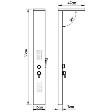 vidaXL Hliníkový sprchový panel, matný čierny[9/9]