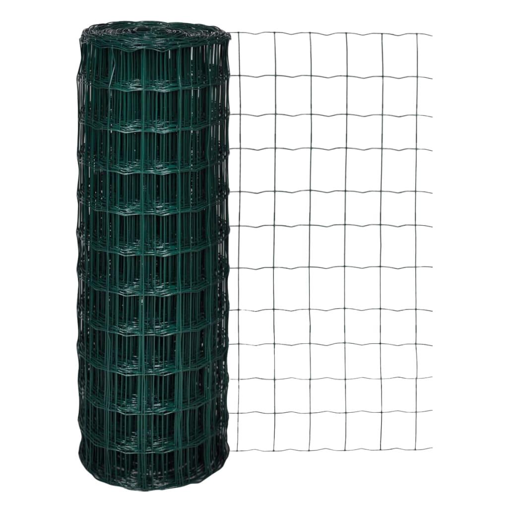 vidaXL Euro gard, verde, 25 x 1,7 m, oțel imagine vidaxl.ro