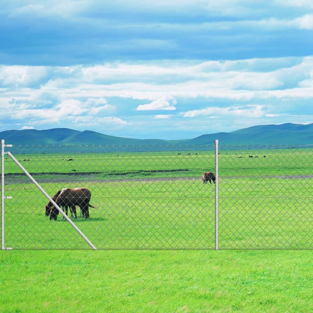 vidaXL Gard plasă de sârmă cu stâlpi, 1,95 x 25 m, oțel galvanizat vidaxl.ro