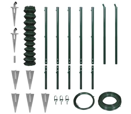 vidaXL fletvævshegn med jordspyd 1,97 x 15 m grøn