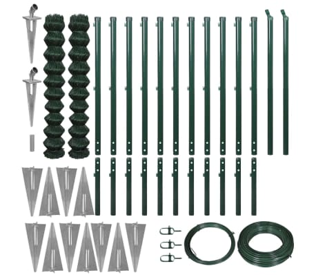 vidaXL fletvævshegn med jordspyd 1,97 x 25 m grøn