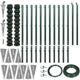 vidaXL Žičana ograda sa šiljastim držačima 1,97 x 25 m zelena
