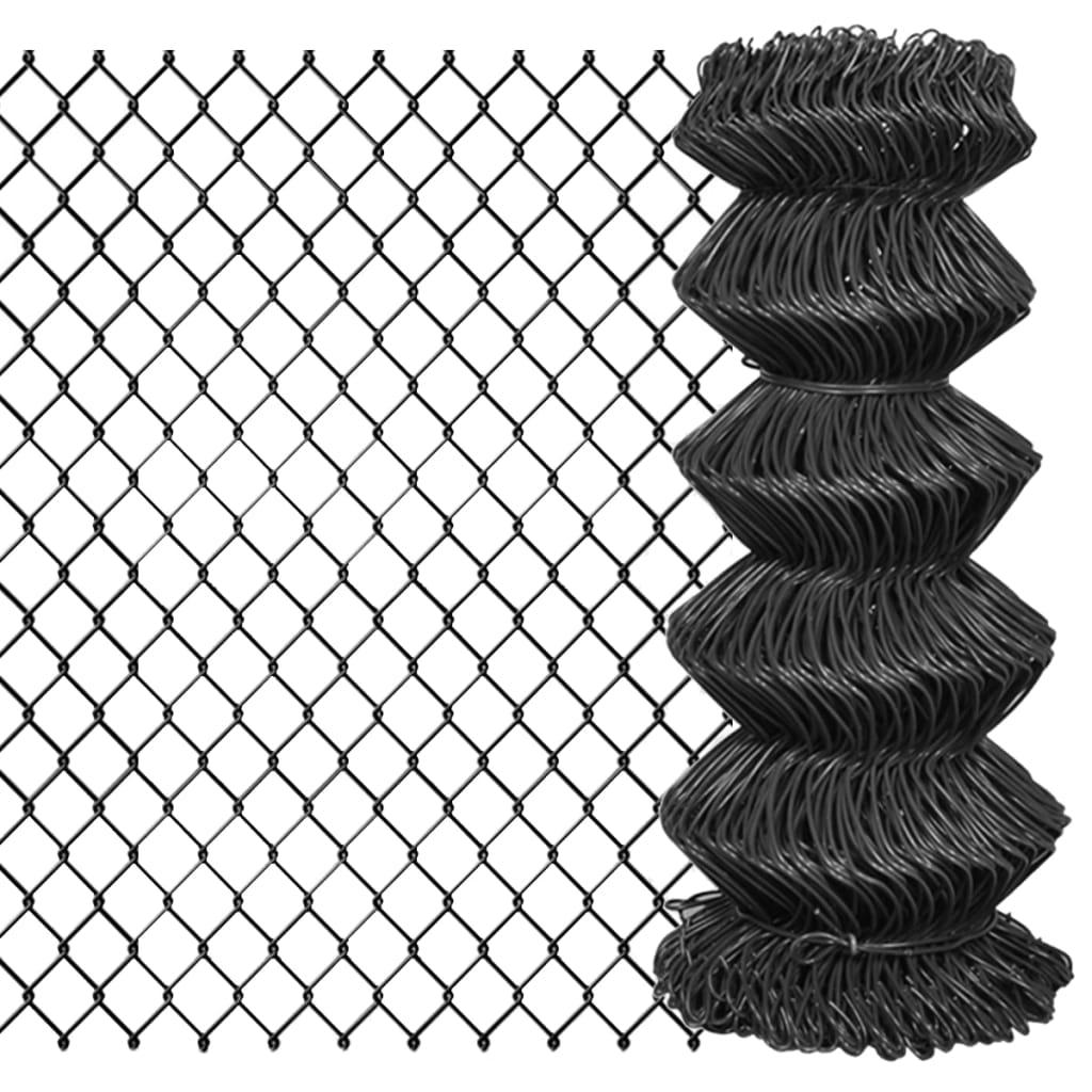 vidaXL Gard plasă de sârmă, gri, 15 x 0,8 m, oțel poza vidaxl.ro