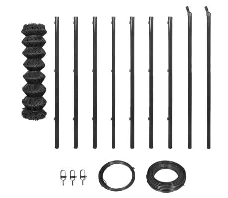 vidaXL Kjedegjerde med stolper og jernvare 1x15 m grå