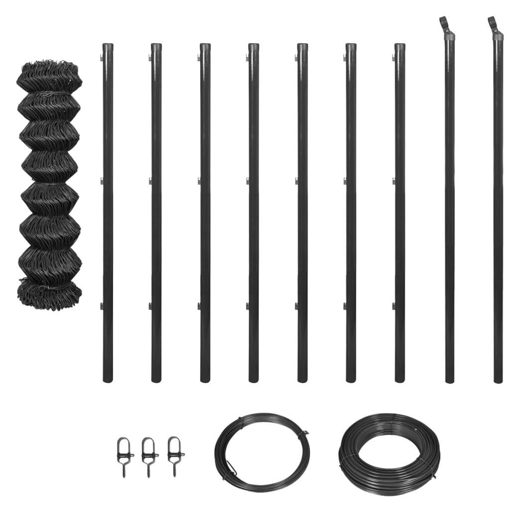 vidaXL Gard plasă de sârmă cu stâlpi și accesorii, gri, 1,5x15 m vidaxl.ro