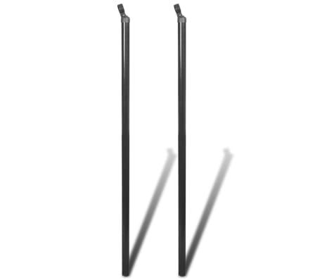 vidaXL balsta stabs stiepļu pinuma žogam, 2 gab., 115 cm, pelēks[2/2]