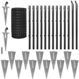 vidaXL Euro Fence Set with Ground Spikes 25x0.8 m Steel Grey