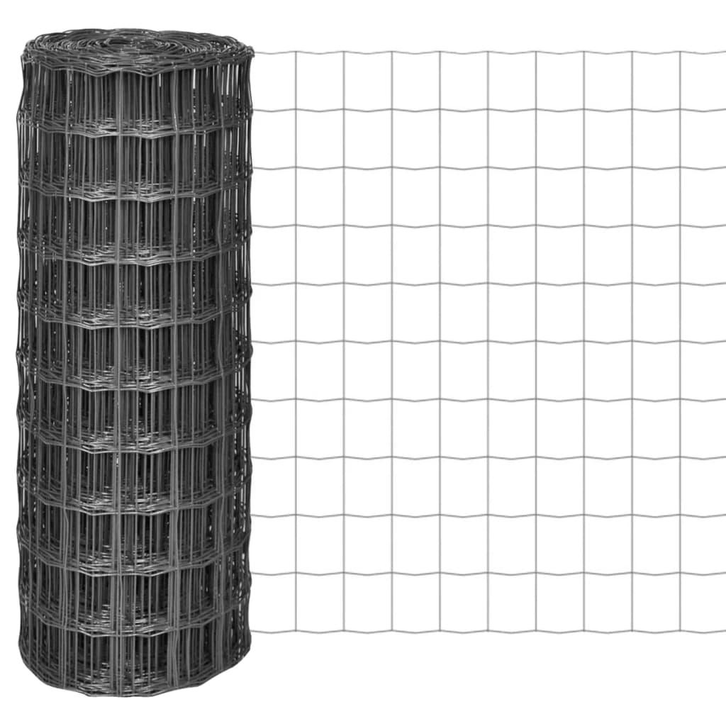 vidaXL Euro  plot 10x1 m s oky 100x100 mm ocelový šedý