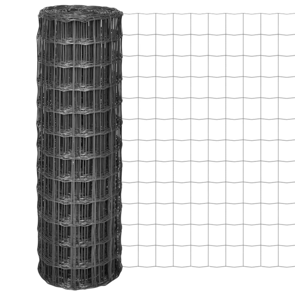 vidaXL Euro hek 10x1,2 m met 100x100 mm gaas staal grijs