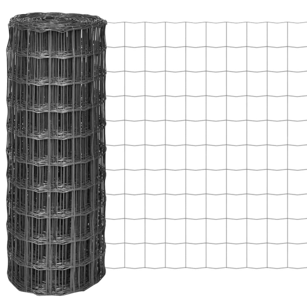 vidaXL Euro gard, gri, 25 x 1 m, oțel vidaxl.ro