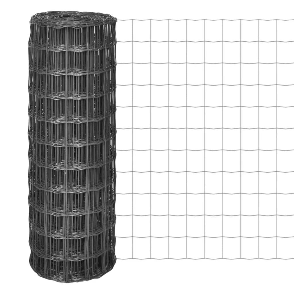 vidaXL Euro hek 10x1,7 m met 77x64 mm gaas staal grijs