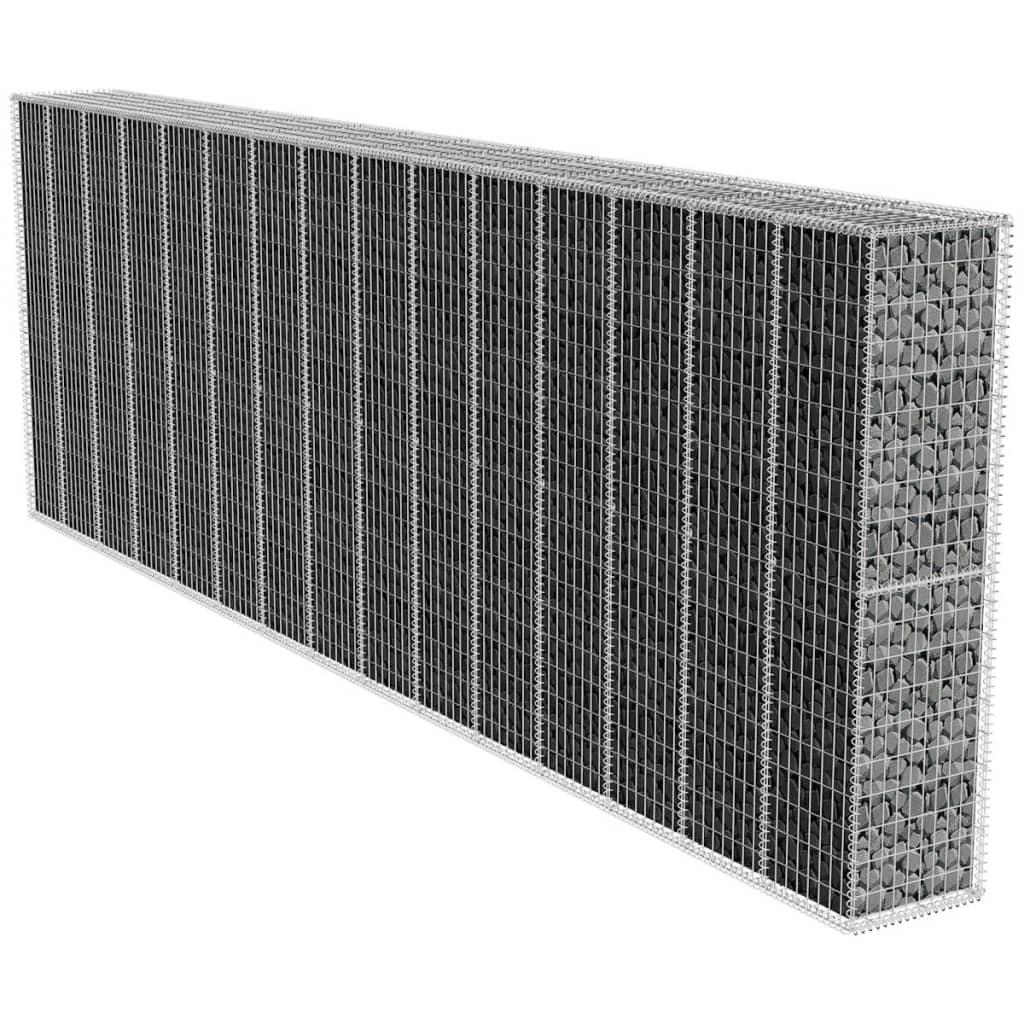 vidaXL Gabionová zeď s víkem 600x50x200 cm