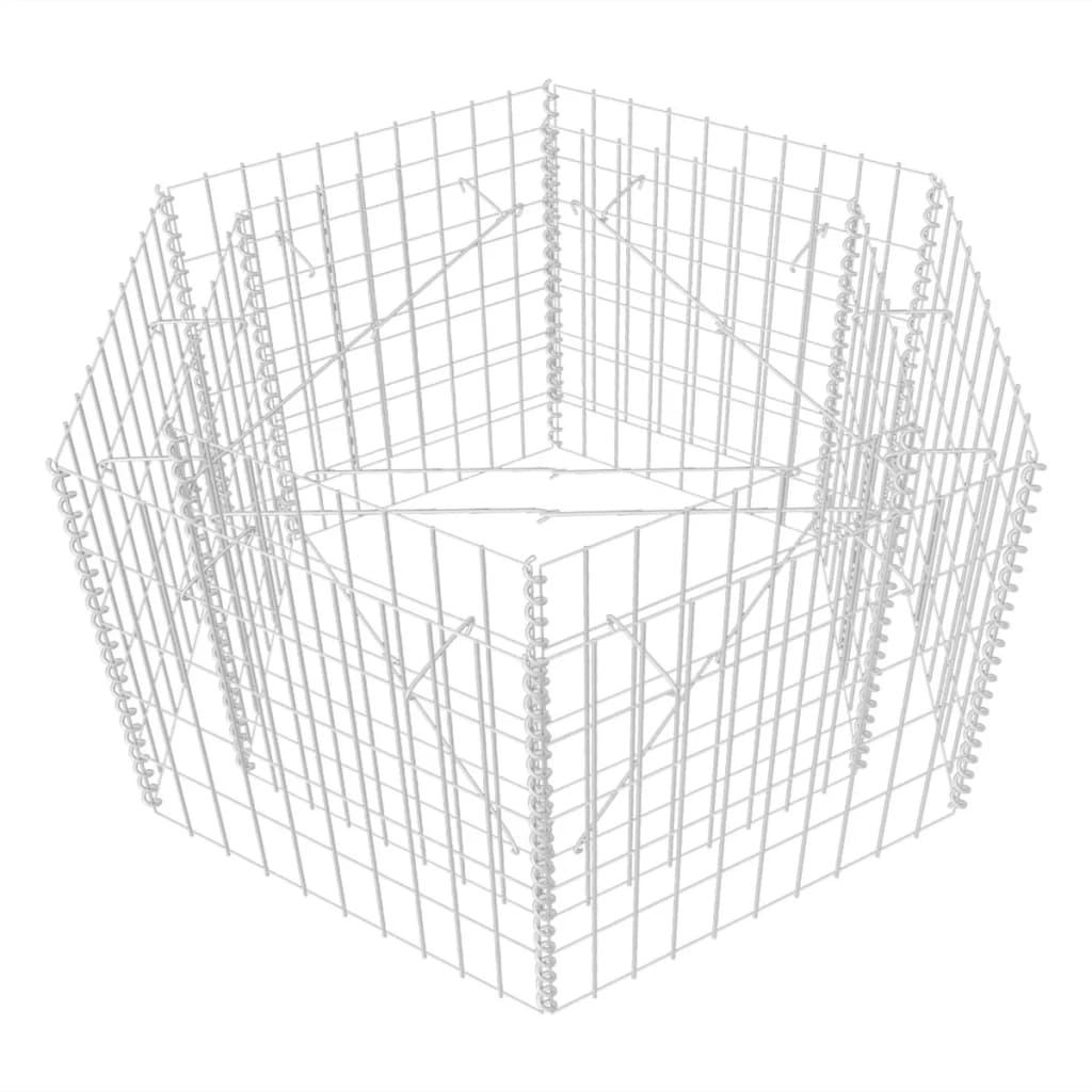 vidaXL Συρματοκιβώτιο Γλάστρα Εξάγωνο 100 x 90 x 50 εκ.