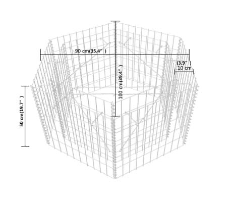 vidaXL Šešiakampis gabiono vazonas, 100x90x50 cm[5/5]