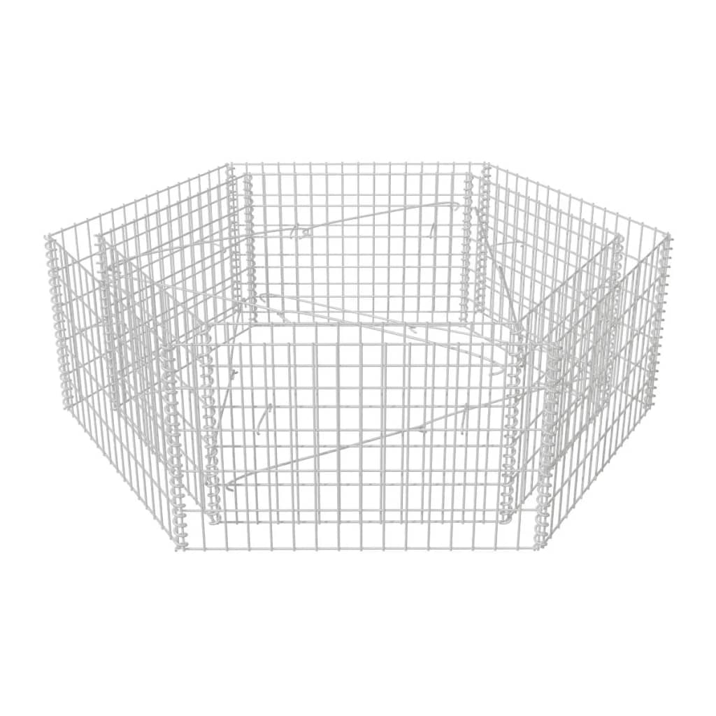 vidaXL Συρματοκιβώτιο Γλάστρα Εξάγωνο 160 x 140 x 50 εκ.