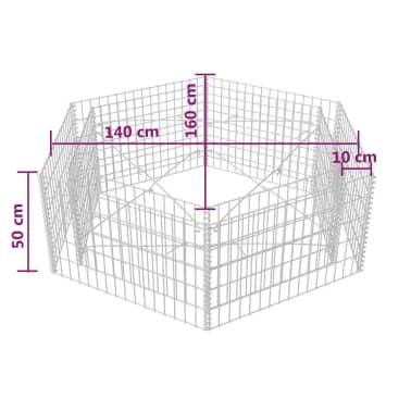 vidaXL Šešiakampis gabiono vazonas, 160x140x50 cm[5/5]